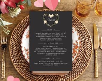 Chalkboard Menu Valentines Day Elegant Menu Template Printable Wedding Menu Cards Holiday Dinner Menu Rose Flowers Menu Rustic Wedding Menu