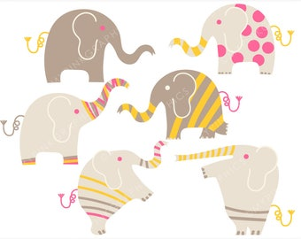 Elephant Clipart, Elephant Clip Art, Elephant Graphic, Vector Elephant, Elephant Clip Art, Digital Clipart. Commercial Use - CL026