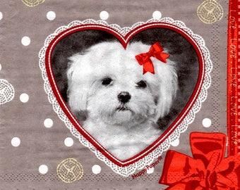 165 napkin heart with dog