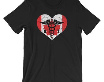 Canadian Radiologic Technologist Flag T-Shirt, Canadian Radiology Tech Love Shirt, Rad Tech Canada Caduceus  Souvenir Tee Shirt Gift