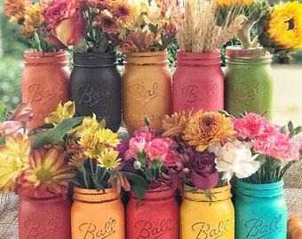 Thankgiving Mason jar centerpiece, fall decor, autumn colors, hostess gift, autumn jars, fall flower jars, thanksgiving table, choose 3