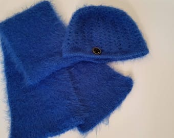 winter hat and scarf,Blue,Warm and Soft, Blue Soft, Gift for Her, Gift for Mom,