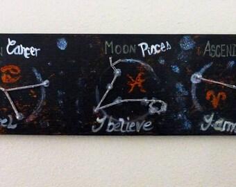 Zodiac Tri - Custom made string art - Sun, Moon and Ascendants - Made to order