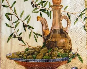 TOWEL in paper Olives and olive #AL030 oil