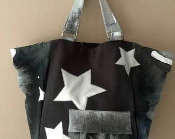 Tote bag large two-tone dark grey and white