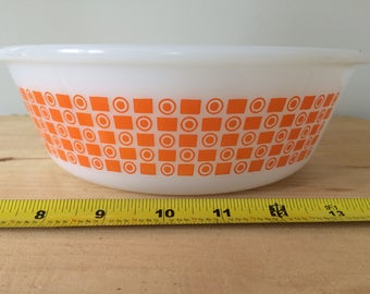 Bright and Cheerful Vintage Glasbake Orange Retro Mod Design Bowl in perfect condition!
