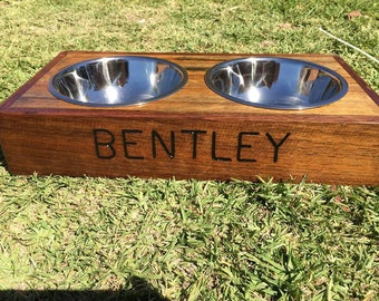 Recycled timber pet feeding station / bowl