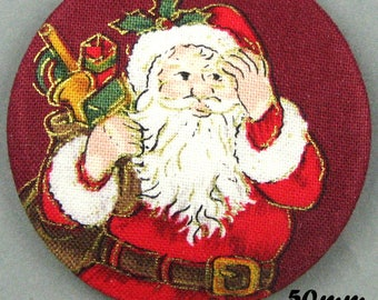 Button fabric - Father Christmas - Santa Claus - 50mm - (50-08)