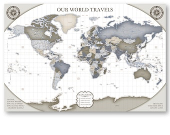 Couples travel map etsy push pin decorative travel map for couples travel map checklist travel map vintage travel map deluxe gumiabroncs Gallery
