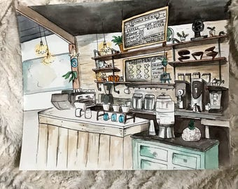 Coffee shop watercolor | 8x10 | original