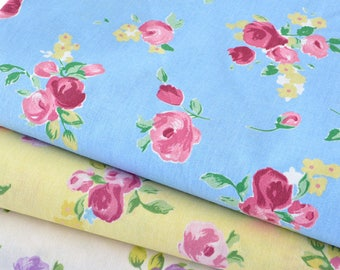 Japanese cotton stiff floral vintage fabric blue x 50cm