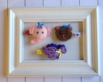 Set of 3 Handmade Feltie Hair Clips .Precio  1.30 each.