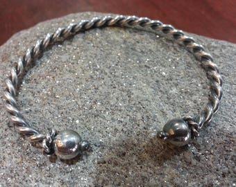 2-wire hand-woven bracelet in silver 925