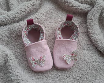 shoes leather baby liberty Butterfly pattern