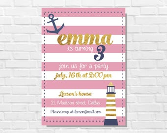 Pink and gold invitation, Girl birthday cards, third birthday, Gold and pink invitation, Girl sailor birthday cards, printable theme