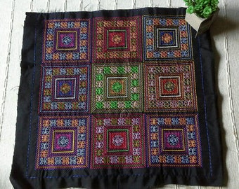 Square Embroidered Hmong Fabric, Hmong Fabric Hill Tribe, Hmong Hill Tribe Embroidered, Thai Hill Tribe, Hmong Textile, Hill Tribe Handmade.