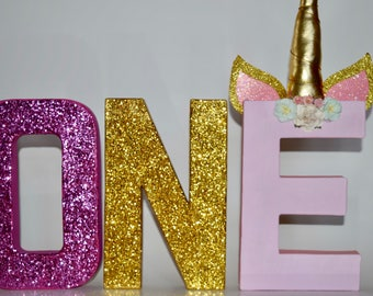 Unicorn glitter letter ONE - Unicorn - First birthday - Party Decor- Paper Mache Letters - Photo Prop - Unicorn Party