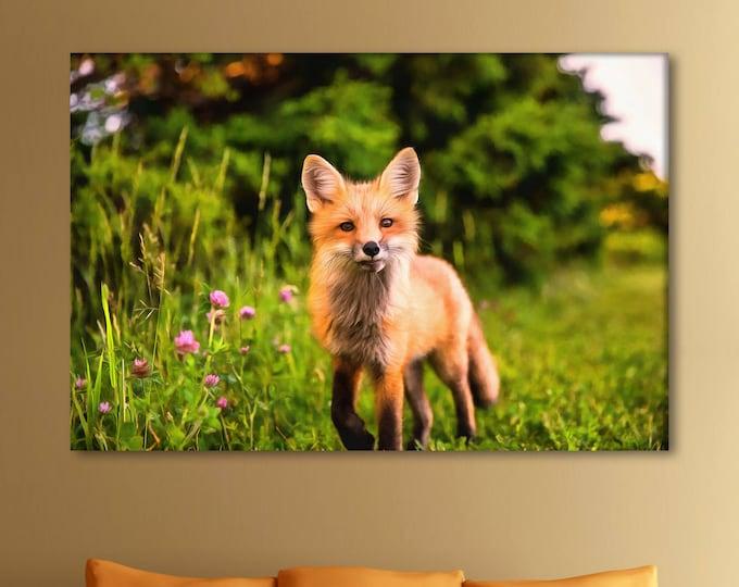 Red fox decor, Fox canvas, Сute canvas, Art fox, zoo art, Interior decor, room design, print poster, art picture, gift