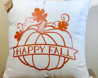 Natural Canvas Pillow - Happy Fall