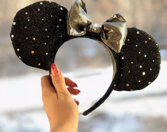 Black and Silver Shimmery, Minnie Mouse Ears