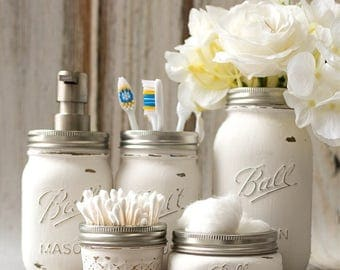 mason jar 5 pc bathroom set made to order 4 colors to choose from - Bathroom Accessories Etsy