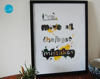 """Typography poster """"I've made all the best mistakes"""" A3 with List"""