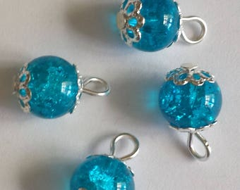 5 pendants 8mm blue Crackle glass beads