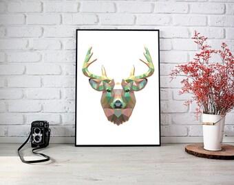 Deer Triangle Wall Print