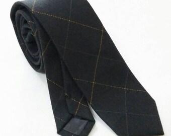 Checkers black grey skinny ties,skinny tie,dapper skinny ties,groomsmen tie,floral ties, wedding ties,wool ties,dapper tie,blue tie,grey tie