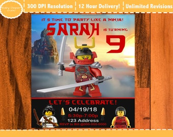 Nya Lego Ninjago, Lego girl Ninjago Birthday Invitation, Lego Ninjago Party Invite