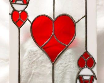 Ace of Hearts Stained Glass Card Suncatcher Panel! Playing card, heart, glass art, window decoration, art deco.