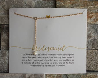 Bridesmaid Bridesmade card with chain in silver or gold gilded necklace