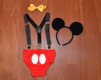 SALE*******Mickey Mouse Inspired Birthday Smash Cake Outfit