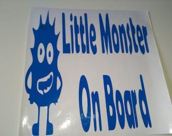 Little Monster on Board, window sticker,bumper sticker, car decal , car sticker, safety sticker warning sticker, car , van