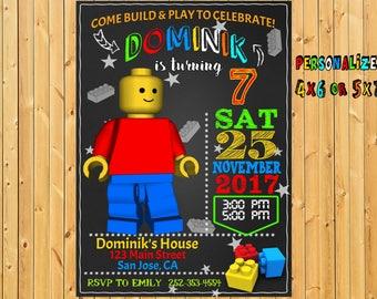 Handmade lego invites Etsy