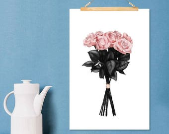 "JUNIQE ® Roses-Design ""pink bouquet""-murals, framed pictures & Framed posters-Art with flowers 