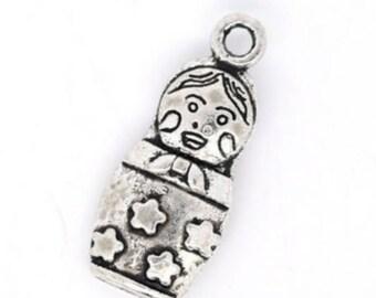 Charm pendant doll Russian 22x9mm