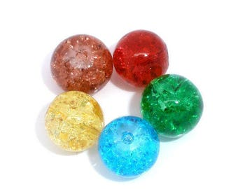 Set of 5 cracked glass 8mm beads