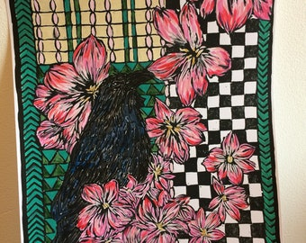 A4 size Art Nouveau style raven linocut print, hand painted colour in acrylics - perfect for Mother's day