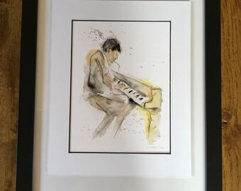 Giclee print, watercolour Jazz hinge mounted limited edition print, 24cm x 30cm Play it again....
