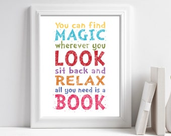 Printable Dr. Seuss, You can find magic wherever you look Sit back relax all you need is a book, Playroom, Classroom, Reading Nook Print