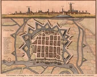 Ancient map of Utrecht, 1740, 17th century Dutch map, Netherlands,antique,old map,art deco,vintage decor