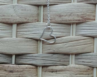 Sterling Silver Heart Necklace on a 24 inch long chain-sterling silver, Valentine's day gift