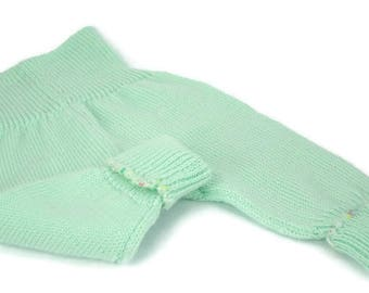 Grow with me pants Baby trousers 100 % merino wool Newborn layette Going home outfit in mint color