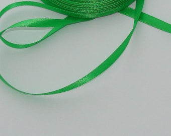 3 m width 6.7 mm colored satin ribbon Green