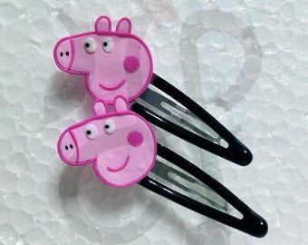 Hair clips with Peppa Pig