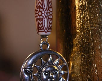 Sun And Moon Tibetan Silver Charm Tribal Sacred Faux Suede Handmade Vegan Necklace