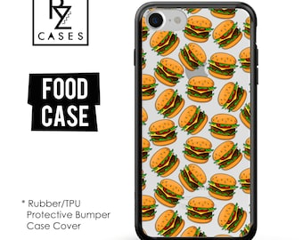 Food Phone Case, Burger Phone Case, Fast Food Phone Case, Hamburger Case, iPhone 7, Gift for Her, iPhone 7 Plus, iPhone 6S, Rubber, Bumper