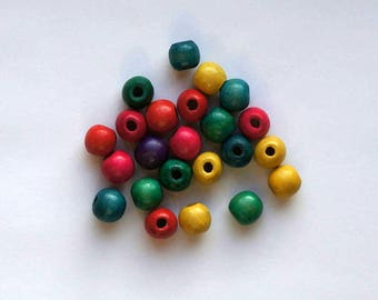 Set of 23 painted wooden beads