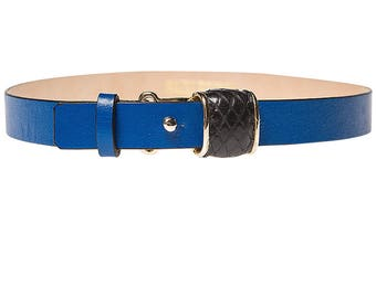 Saxe Blue Leather Choker With Phyton Accessory